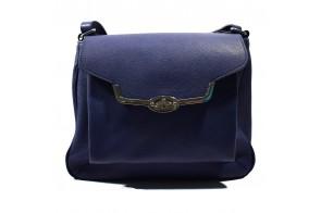 Poseta dama, din piele naturala, marca Anna Fellini, cod Cristina5-07-27, culoare albastru