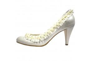 Pantofi de mireasa, din piele naturala, marca Botta, cod 313-13-05, culoare alb
