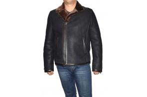 Cojoc barbati, din blana naturala, marca Kurban, cod 21-01/02-95, culoare negru cu maro