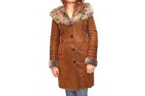 Cojoc dama, din blana naturala, marca Kurban, cod 2003-16-95, culoare coniac