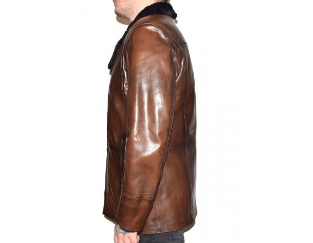 Cojoc barbati, din blana naturala, marca Kurban, cod A-71-02-95, culoare maro
