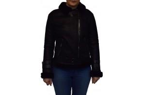 Haina blana naturala dama, din piele naturala, marca Armadis, PILOT-01-19-140, negru