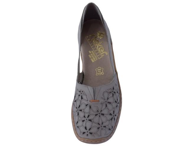 Pantofi dama, din piele naturala, Rieker, 41356-64-46-21-22, caffe